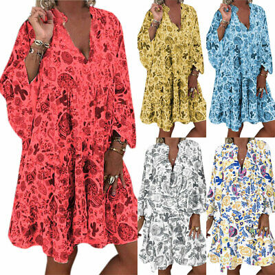 AU18.90 • Buy Plus Size Women Boho Floral Loose Tunic Dress Ladies Summer Beach Kaftan Dresses