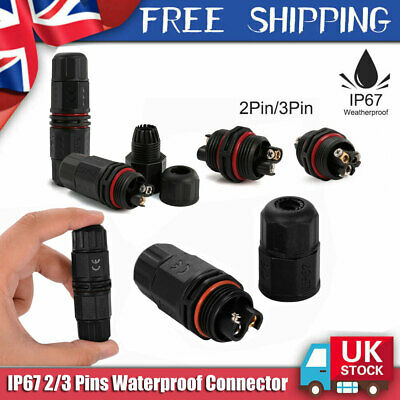 Waterproof Electrical Cable Wire 2 Pin 3 Pin Connector Outdoor Plug Socket IP67 • 2.99£