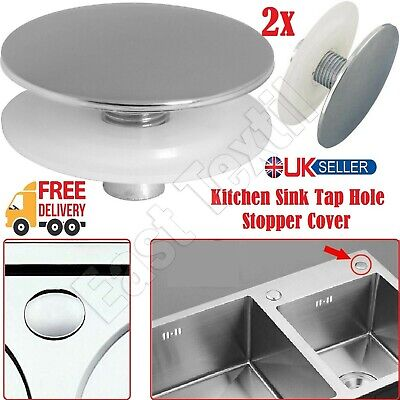 2x Pcs Stainless Steel Kitchen Sink Tap Hole Blanking Plug Plate Stopper Cover • 6.25£