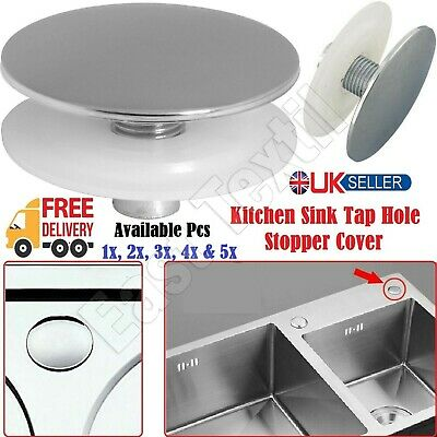 1-5x Chrome Tap Hole Stopper Cover Blanking Plug Kitchen Sink Basin ABS Plastic. • 4.25£