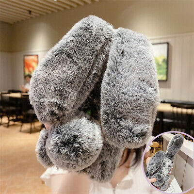 Pinching Ear Can Move Airbag Bunny Plush Rabbit Case For IPhone 12 11 Pro Max XS • 4.89£