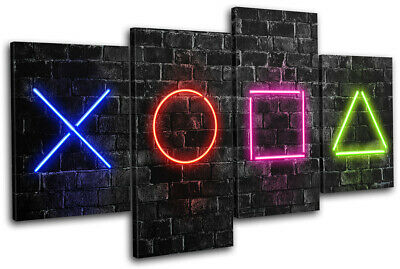 Playstation 5 Gamer Neon Urban Gaming MULTI CANVAS WALL ART Picture Print • 31.99£