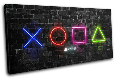 Playstation 5 Gamer Neon Urban Gaming SINGLE CANVAS WALL ART Picture Print • 23.99£