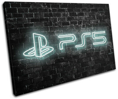 Playstation 5 Gamer Neon Urban Gaming SINGLE CANVAS WALL ART Picture Print • 31.99£