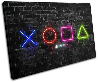Playstation 5 Gamer Neon Urban Gaming SINGLE CANVAS WALL ART Picture Print • 19.99£