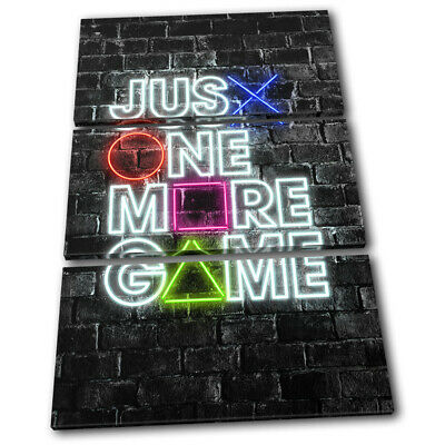 Playstation Neon Gamer Urban Gaming TREBLE CANVAS WALL ART Picture Print • 27.99£