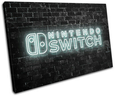 Nintendo Switch Gamer Neon Urban Gaming SINGLE CANVAS WALL ART Picture Print • 15.99£
