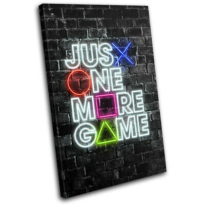 Playstation Neon Gamer Urban Gaming SINGLE CANVAS WALL ART Picture Print • 19.99£