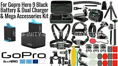 $ CDN124.81 • Buy Genuine GoPro Hero 9 BLACK Dual Battery Charger  + Deluxe Accessories Bundle Kit