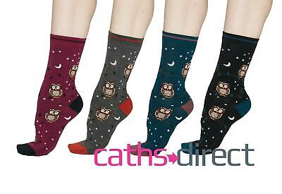 Ladies Soft Bamboo Night Owl Socks Size 4-7 By Thought • 6.95£