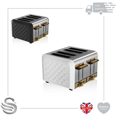 £49.99 • Buy Swan Gatsby Range 4 Slice Toaster Variable Browning Defrost Reheat Cancel Chrome