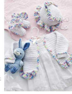 Crochet Pattern 2376.  Baby Cardigan, Bootees & Hat.  0-18 Months Old. • 0.99£