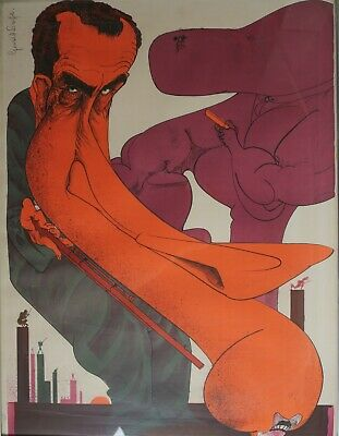 """£514.64 • Buy Gerald Scarfe (English 1936-) Lithograph On Paper, """"Tricky Dick"""" Numbered Signed"""