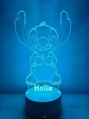 £16.99 • Buy Personalised 3D Colour Changing Led DISNEY - STITCH Night Light - Any Name