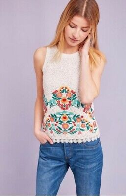 $ CDN49.58 • Buy Anthropologie Embroidered Lace Shell By Maeve Medium