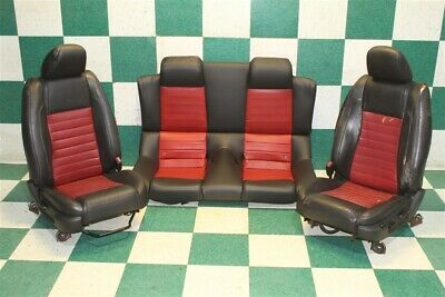$1499.99 • Buy 05-09 Mustang Shelby GT500 Convertible Black Red Leather Pair Buckets & Backseat