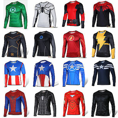 Mens Marvel Compression Base Layer Gym Top Superhero Cycling Fitness T-shirt Fit • 11.11£