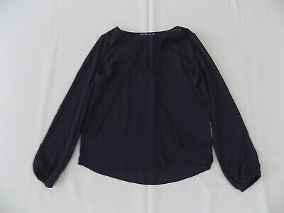 House Top/Blouse Size XS Fits 12 Approx Navy Chiffon Lace Trim String Tie Neck  • 4£
