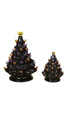 $ CDN50.63 • Buy Lights And Sounds Halloween Ceramic Trees Set Of 2 Vintage Style Decorations