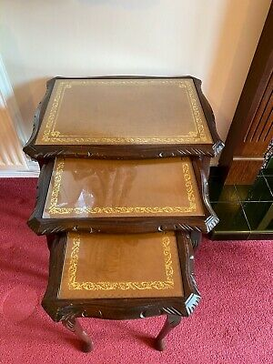 £45 • Buy Vintage ,nest Of Tables ,mahogany ,tan Leather & Glass Tops,cabriole Legs