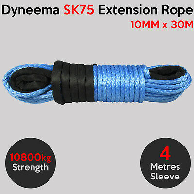 AU139.95 • Buy 10MM X 30M Dyneema SK75 Extension Winch Rope Synthetic Cable 4X4 Offroad Car Tow