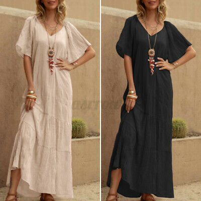 AU15.97 • Buy AU STOCK Women Summer Tiered Sundress Flare Sleeves Plus Size Long Maxi Dress