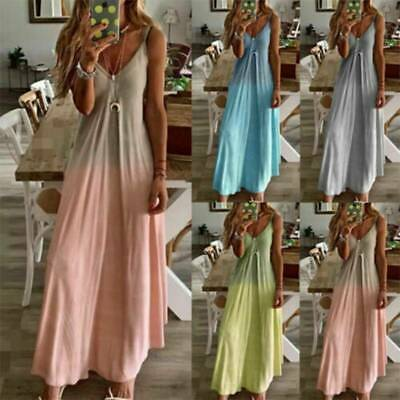 AU19.94 • Buy Women Boho Strappy V Neck Maxi Dress Summer Holiday Loose Casual Long Sundress