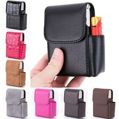 Cigarette Box Lighter Holder Tobacco PU Leather Nice Gift Smoker Tool Cigar Case • 4.67£