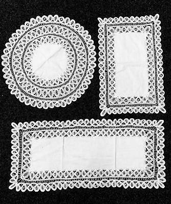 White Lace Handmade Crochet Lace Cottage Round Tablecloth Or Runner Table Centre • 3.99£