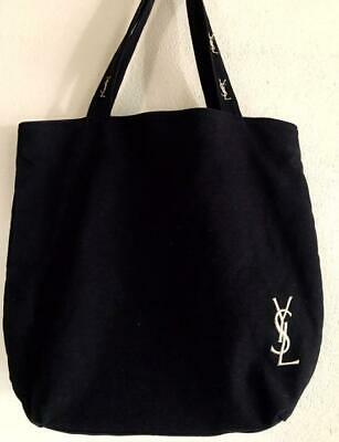 Yves Saint Laurent Canvas Tote Bag Black X Pink Women's Bags Gold Embroidery • 50.77£