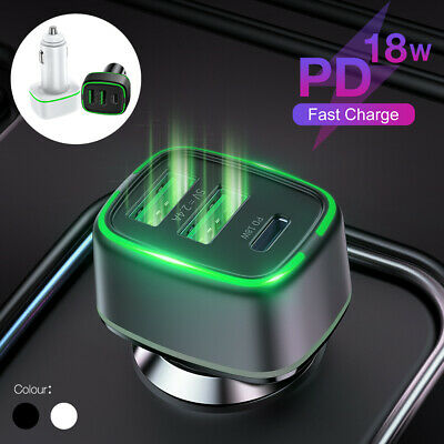 AU10.98 • Buy 18W PD Car Charger 3 Ports Fast Charge USB Type C 12V Cigarette Lighter Adapter