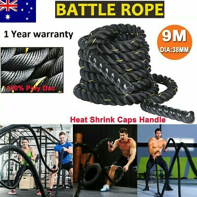 AU54.99 • Buy 9M 38mm PolyDac Battle Rope Sports Exercise Fitness Workout Strength Training AU