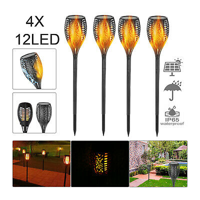 2/4X Solar Power Torch Light Waterproof Flame Flickering Dancing Garden Lamp • 10.59£