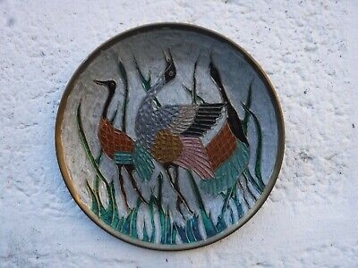 Indian Made Brass Hanging Plate With Stunning Enamel Bird Design 8  Diameter • 11.99£