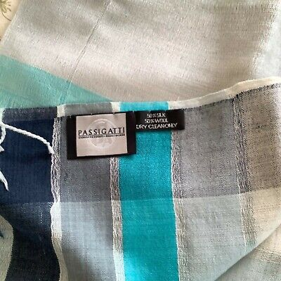 Italian Ladies Scarf By Passigatti  Shades Of Blue Colours. Silk And Wool • 12.50£