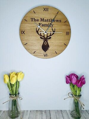 Personalised Stag Oak Wooden Wall Clock Gift Present Christmas Wedding  • 24.99£