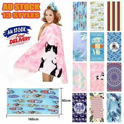 AU20.96 • Buy 80x160cm Ex Large Microfibre Sand-free Beach Towel Quick Dry Travel BPCh Towel~N