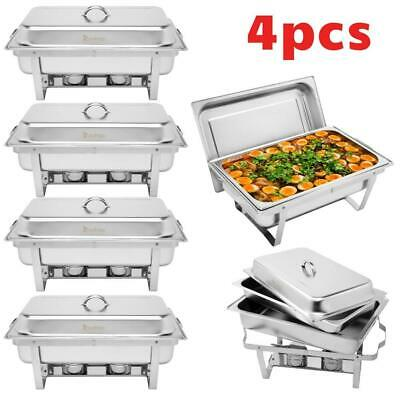 £61.97 • Buy 4X CHAFING DISHES SET WITH FUEL HOLDER 9L FOOD PANS 8 Quart SERVING DISH