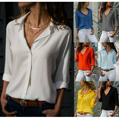 Women Lapel Button T-Shirt Collar Office Tops Shirts Pullover Blouse Jumper Lady • 7.99£