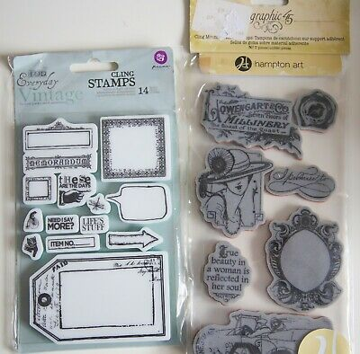 2 Sets Vintage Foam Mounted Stamps, Graphic 45 And Prima, New • 8.95£