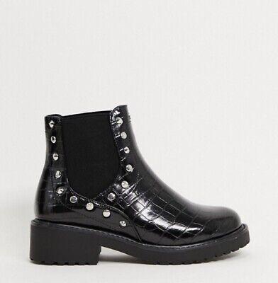 London Rebel Wide Fit Studded Chunky Chelsea Boots In Black UK7 • 32.89£