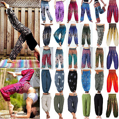 AU25.93 • Buy Womens Ladies Palazzo Harem Yoga Pants Boho Hippie Gypsy Baggy Loose Trousers