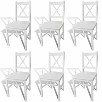 AU345.95 • Buy White Dining Chairs 6 Pcs Wooden Seat Modern Kitchen Furniture Quality Pine Wood