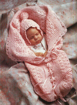 Crochet Pattern 2340.  Baby Sleeping Bag And Hat.  0-12 Months. • 0.99£