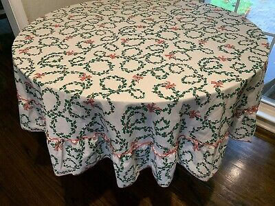 $ CDN19.60 • Buy VINTAGE Christmas 70 Inch Round Tablecloth Red Green Holly Bows Ruffle