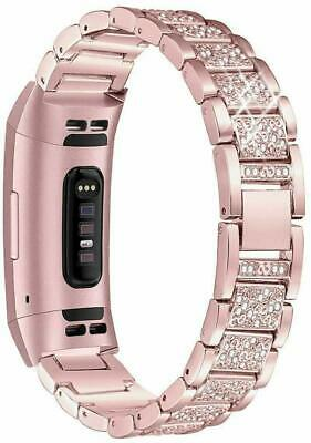 AU25.99 • Buy For Fitbit Charge 2 3 4 Watch Band Diamond Stainless Steel Band Strap Link+Tool