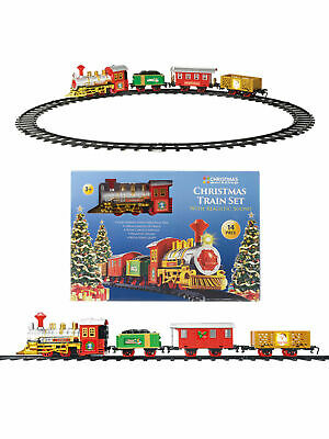 Christmas 14 Piece 330cm Train Set Toy Light Up + Sound Decoration  Tree Kids  • 12.95£