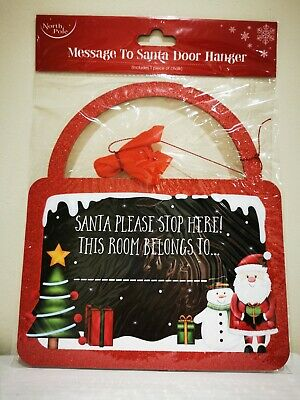 Christmas Message To Santa Door Hanger With Chalk Santa Stop Here  • 2.55£