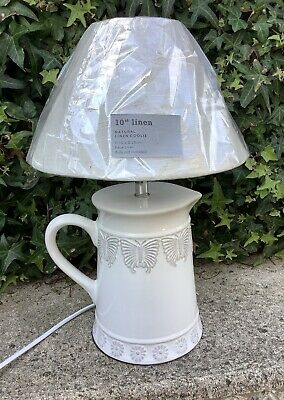 £18.99 • Buy Small White & Grey Butterfly Pattern Ceramic Jug Style Table Lamp ~ Shabby Chic