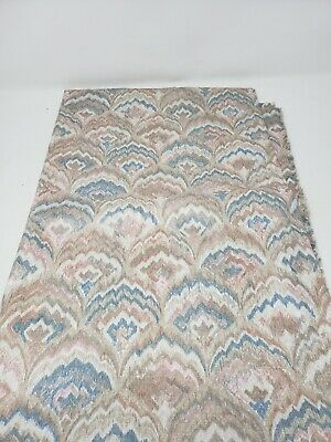 Feather Fan Chintz Sheen Woven Vintage Fabric Material 4+ Yards Pastels Peacock • 39.44£